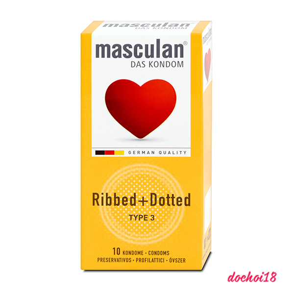 bao cao su masculan ribbed dotted gân gai 10 cái